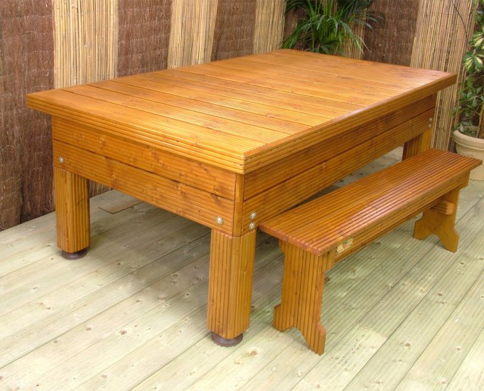 Dining hard top table, complete with optional benches
